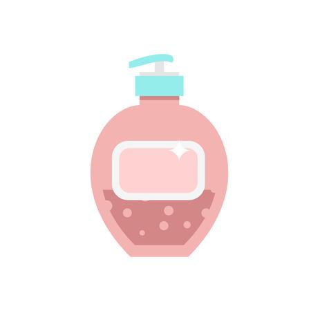liquid soap: Liquid soap container vector icon. Cream soap for body. Shower or lotion for hygiene.