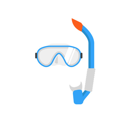 swiming: Diving Mask and snorkel vector illustration. Swimming mask. Diving equipment vector sign. Summer swimming accessory.