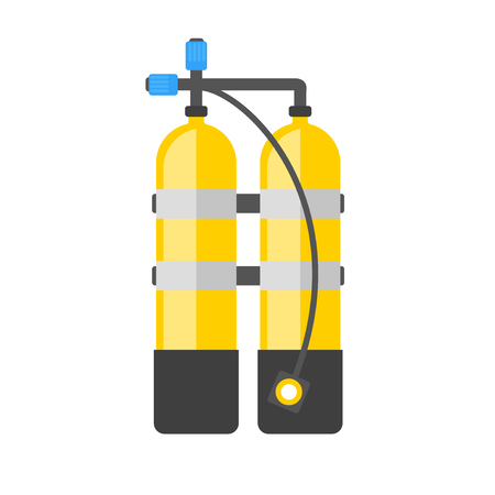 aqualung: Scuba vector illustration. Diving equipment vector sign. Aqualung for swimming.