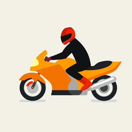 Motorcyclist on a motorcycle vector illustration. Vector Motorbike. Motorbike festival. Motorbike race. Drive motorbike. Motorbike icon. Flat motorbike design. Illustration