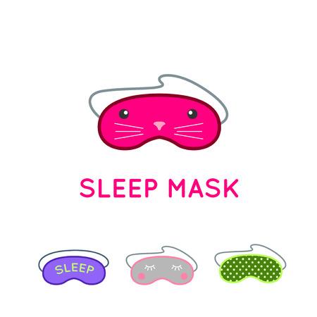 dressing treatment: Sleep mask vector set. Night sleeping mask vector icon. Sleep mask for travel. Relax sleep mask. Mask for sleeping without stress.