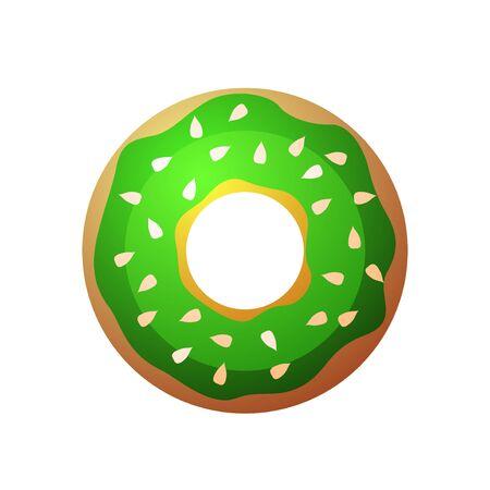 donut: Vector donut icon. Sugar donut illustration. Caramel donut sign. Donut with topping. Donut for bakery menu. Cafe donut. Glazed cool donut. Flat donut illustration.