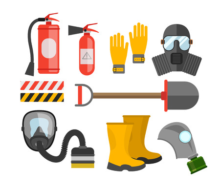 dangerous work: Safety equipment vector set. Fire protection and fire. A gas mask and a fire extinguisher. Set firefighter or rescuer. Rescue tools. Safety work Illustration