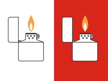 cigarette lighter: ?igarette lighter vector illustration. Cigarette lighter icon set. Cigarette lighter flame. Light a cigarette lighter vector illustration. Illustration