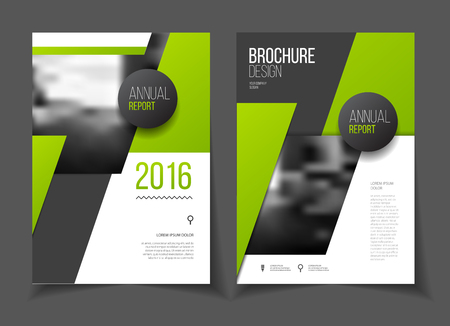 Green Annual report vector illustration. Brochure with text. A4 size corporate business brochure cover. Business presentation with photo and geometric graphic elements. Magazine template