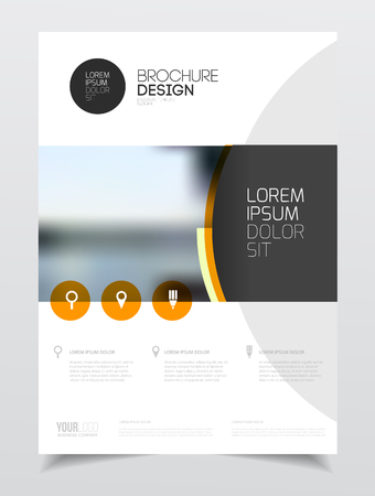 Catalogue cover design. Annual report vector illustration template. A4 size corporate business catalogue cover. Business presentation with map. Material design style. Ilustração