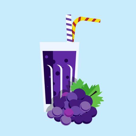 Fresh grape juice. Grape juice on blue background. Grape juice vector illustration. Grape fresh in a glass. Grape juice with tubule. Fresh juice for menu in cafe. Cold berry juice