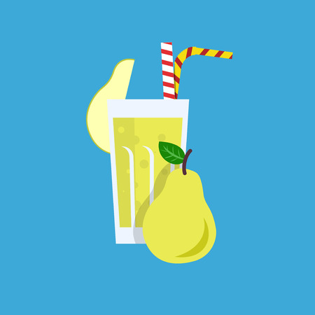 tubule: Fresh pear juice. Pear juice vector illustration. Pear fresh in a glass. Pear juice with tubule. Fresh juice for menu in cafe. Fresh pear juice in a glass. Summer drink with tubule. Cold juice Illustration