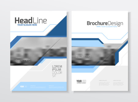 magazine layout design template: Business Brochure design. Annual report vector illustration template. A4 size corporate business catalogue cover. Business presentation with photo and geometric graphic elements.