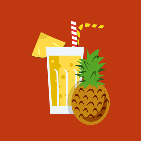 tubule: Fresh pineapple juice. Pineapple juice on orange background. Pineapple juice vector illustration. Pineapple fresh in a glass. Pineapple juice with tubule. Fresh juice for menu in cafe. Fresh pineapple juice in a glass. Summer drink with tubule. Cold juice