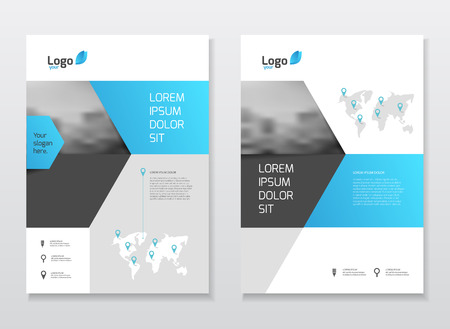 Abstract business Brochure design vector template in A4 size. Document or book cover. Annual report with photo and text. Simple style brochure. Flyer promotion. Presentation cover Vettoriali