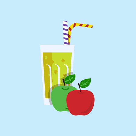 apple juice: Fresh apple juice. Apple juice on blue background. Apple smoothies in a glass. Apple juice vector illustration. Apple fresh in a glass. Apple juice with tubule. Fresh juice for menu in cafe. Fresh apple juice in a glass. Summer drink with tubule. Cold jui