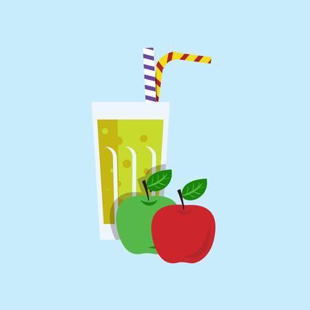 tubule: Fresh apple juice. Apple juice on blue background. Apple smoothies in a glass. Apple juice vector illustration. Apple fresh in a glass. Apple juice with tubule. Fresh juice for menu in cafe. Fresh apple juice in a glass. Summer drink with tubule. Cold jui