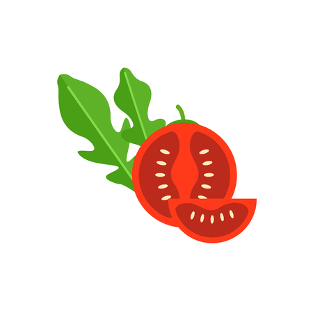 cherry tomato: Cherry tomato with leaf arugula vector illustration. Red Tomato cut in half. Vegetable for salad.