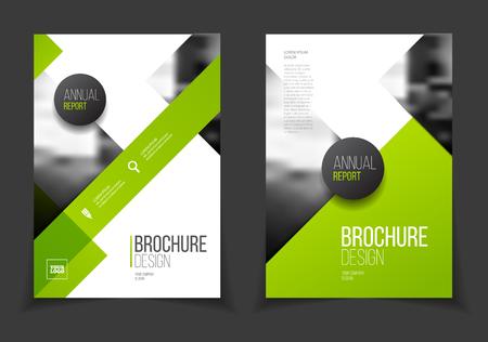 녹색 연례 보고서 벡터 일러스트 레이 션. 텍스트와 안내 책자. A4 크기 기업 비즈니스 책자 표지. 사진 및 기하학적 그래픽 요소와 비즈니스 프리젠 테이션. 잡지 템플릿 벡터 (일러스트)