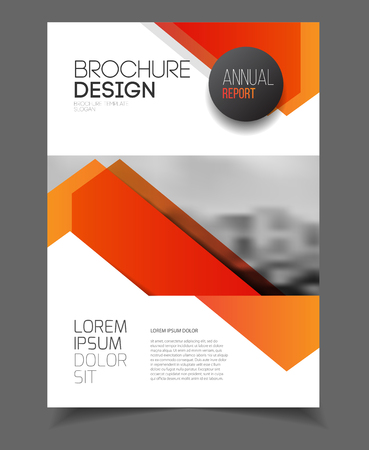 design elements: Business Brochure design. Annual report vector illustration template. A4 size corporate business catalogue cover. Business presentation with photo and geometric graphic elements.