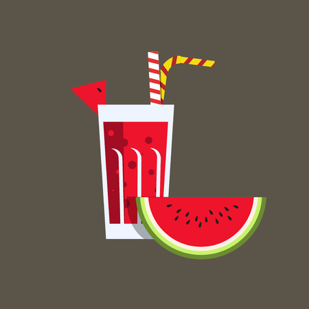 tubule: Fresh melon juice. Fresh watermelon juice. Melon juice on dark background. Watermelon smoothies in a glass. Watermelon juice vector illustration. Melon fresh in a glass. Watermelon juice with tubule. Fresh juice for menu in cafe. Fresh watermelon juice in