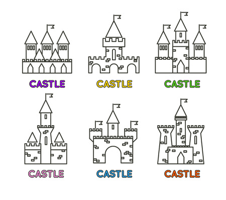 turret: Castle vector set. Castle tower vector logo. Castle turret with flag. History castle architecture illustration. Princess castle sign. Castle behind the wall.