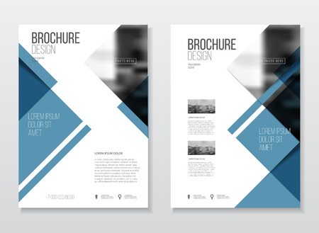 publisher: Abstract business Brochure design vector template in A4 size. Document or book cover. Annual report with photo and text. Simple style brochure. Flyer promotion. Presentation cover Illustration