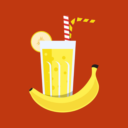 tubule: Fresh banana juice. Banana juice on orange background. Banana juice vector illustration. Banana fresh in a glass. Banana juice with tubule. Fresh juice for menu in cafe. Fresh banana juice in a glass.