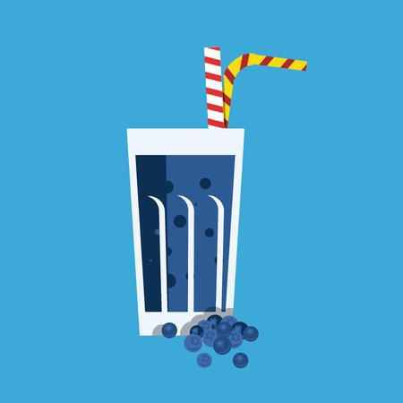 tubule: Fresh blueberry juice. Blueberry juice on blue background. Blueberry juice vector illustration. Blueberry fresh in a glass. Blueberry juice with tubule. Fresh juice for menu in cafe. Illustration