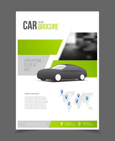 Car brochure. Auto Leaflet Brochure Flyer template A4 size design, car repair business catalogue cover layout design, Abstract presentation template Çizim