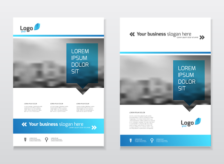Catalogue cover design. Annual report vector illustration template. A4 size corporate business catalogue cover. Business presentation with map. Material design style. Stock Illustratie