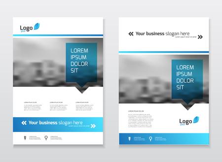 Diseño de portada de catálogo. Plantilla de ilustración de vector de informe anual. Tapa del catálogo de empresas corporativas de tamaño A4. Presentación de negocios con mapa. Estilo de diseño de materiales. Logos