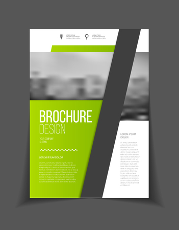Green Annual report vector illustration. Brochure with text. A4 size corporate business brochure cover. Business presentation with photo and geometric graphic elements. Magazine template Imagens - 57822181