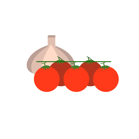 cherry tomato: Cherry tomato with fresh garlic vector illustration. Vegetable for salad. Illustration