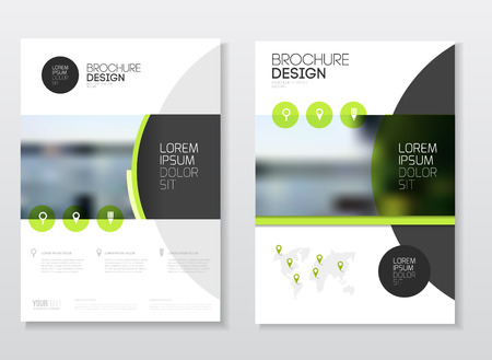 Catalogue cover design. Annual report vector illustration template. A4 size corporate business catalogue cover. Business presentation with map. Material design style. Иллюстрация