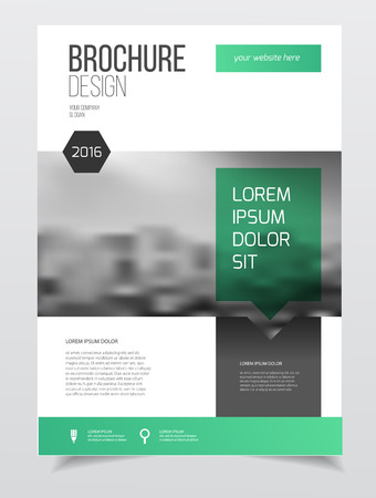 Abstract business Brochure design vector template in A4 size. Document or book cover. Annual report with photo and text. Simple style brochure. Flyer promotion. Presentation cover Çizim