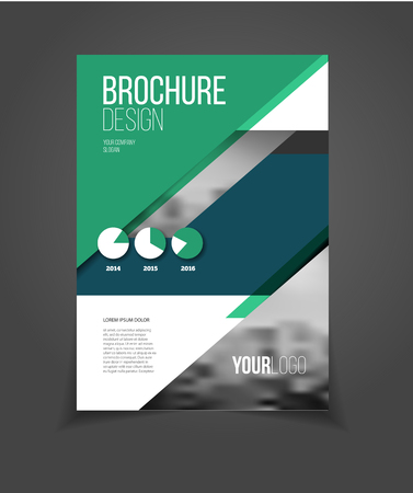 proposal: Annual report vector illustration. Brochure with text. A4 size corporate business brochure cover. Business presentation with photo and geometric graphic elements. Magazine template for cover. Flyer or poster for party. Illustration