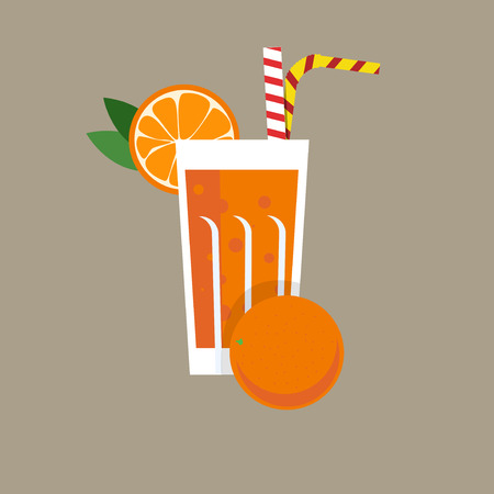 orange water: Fresh orange juice. Orange juice vector illustration. Orange fresh in a glass. Orange juice with tubule. Fresh juice for menu in cafe. Fresh citrus juice in a glass. Summer drink with tubule. Cold juice