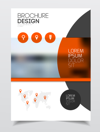 Catalogue cover design. Annual report vector illustration template. A4 size corporate business catalogue cover. Business presentation with map. Material design style.  イラスト・ベクター素材