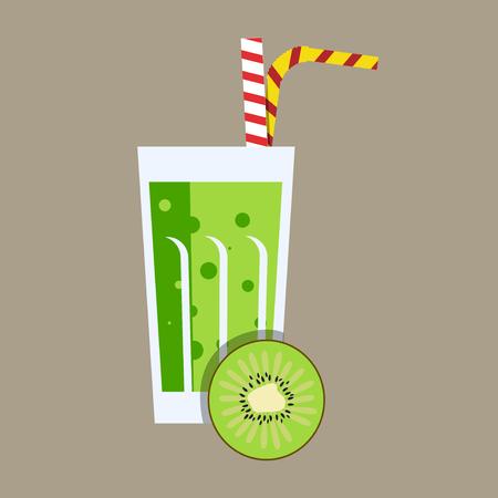tubule: Fresh kiwi juice. Kiwi juice on grey background. Kiwi smoothies in a glass. Kiwi juice vector illustration. Kiwi fresh in a glass. Kiwi juice with tubule. Fresh juice for menu in cafe. Fresh kiwi juice in a glass. Summer drink with tubule. Cold juice