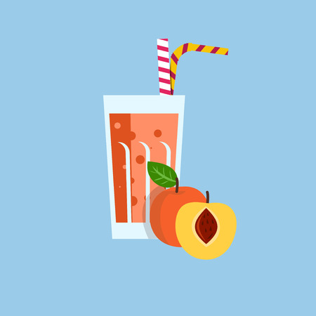 Fresh peach juice. Peach juice on blue background. Peach juice vector illustration. Peach fresh in a glass. Peach juice with tubule. Fresh juice for menu in cafe. Fresh peach juice in a glass. Summer drink with tubule. Cold juice