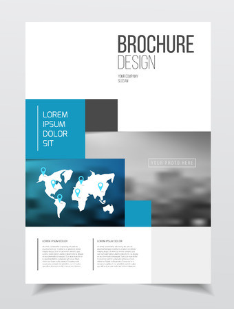 threefold: Abstract business Brochure design vector template in A4 size. Document or book cover. Annual report with photo and text. Simple style brochure. Flyer promotion. Presentation cover Illustration
