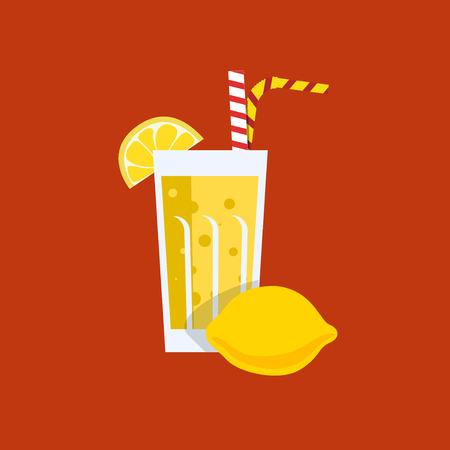 lemon juice: Fresh lemon juice. Fresh citrus juice. Lemon juice on orange background. Lemon smoothies in a glass. Lemon juice vector illustration. Lemon fresh in a glass. Citrus juice with tubule. Fresh juice for menu in cafe. Fresh citrus juice in a glass. Summer dri Illustration