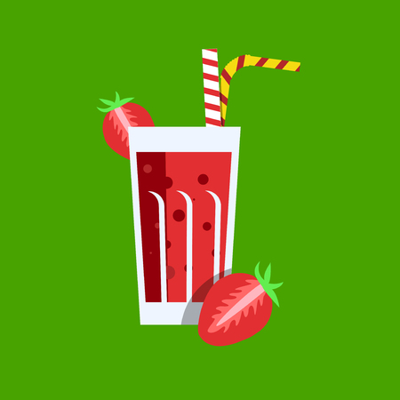 tubule: Fresh strawberry juice. Strawberry juice on green background. Strawberry juice vector illustration. Strawberry fresh in a glass. Strawberry juice with tubule. Fresh juice for menu in cafe