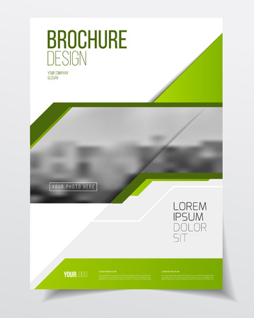 threefold: Abstract business Flyer design vector template in A4 size. Document or book cover. Annual report with photo and text. Simple style brochure.