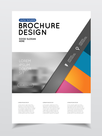 Annual report vector illustration. Brochure with text. A4 size corporate business brochure cover. Business presentation with photo and geometric graphic elements. Catalogue template for company. Flyer or poster Çizim