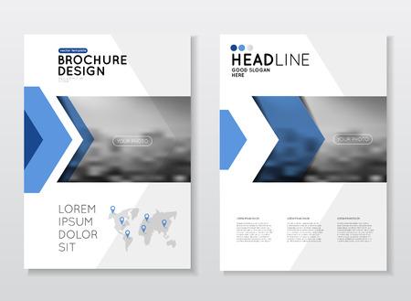 비즈니스 브로셔 디자인입니다. 연간 보고서 벡터 그림 템플릿입니다. A4 크기 기업 비즈니스 카탈로그 표지. 사진 및 기하학적 그래픽 요소가있는 비
