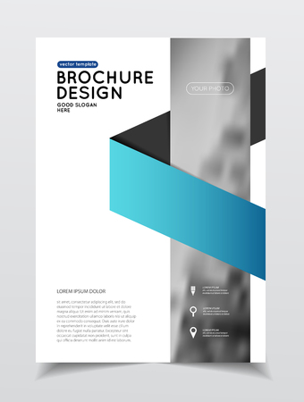blank poster: Annual report vector illustration. Brochure with text. A4 size corporate business brochure cover. Business presentation with photo and geometric graphic elements. Catalogue template for company. Flyer or poster Illustration