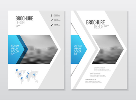 Abstract business Flyer design vector template in A4 size. Document or book cover. Annual report with photo and text. Simple style brochure.