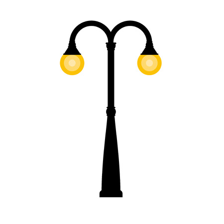 Vector vintage streetlight on white background. Outdoor retro lamp.