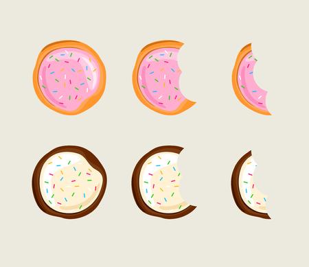 Biscuit Cracker in verschiedenen Essstadien Illustration