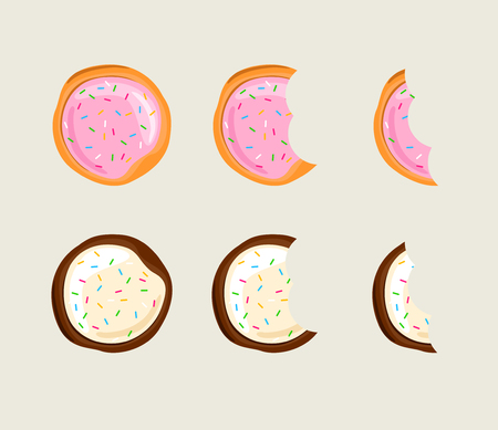 Biscuit cracker in different eating stages illustration Illustration
