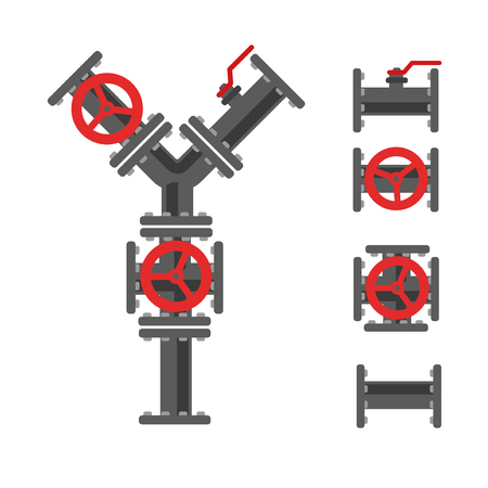 canalization: Pipe connector vector set. Pipeline vector illustration