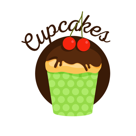 Vector muffin with chocolate and cherry illustration